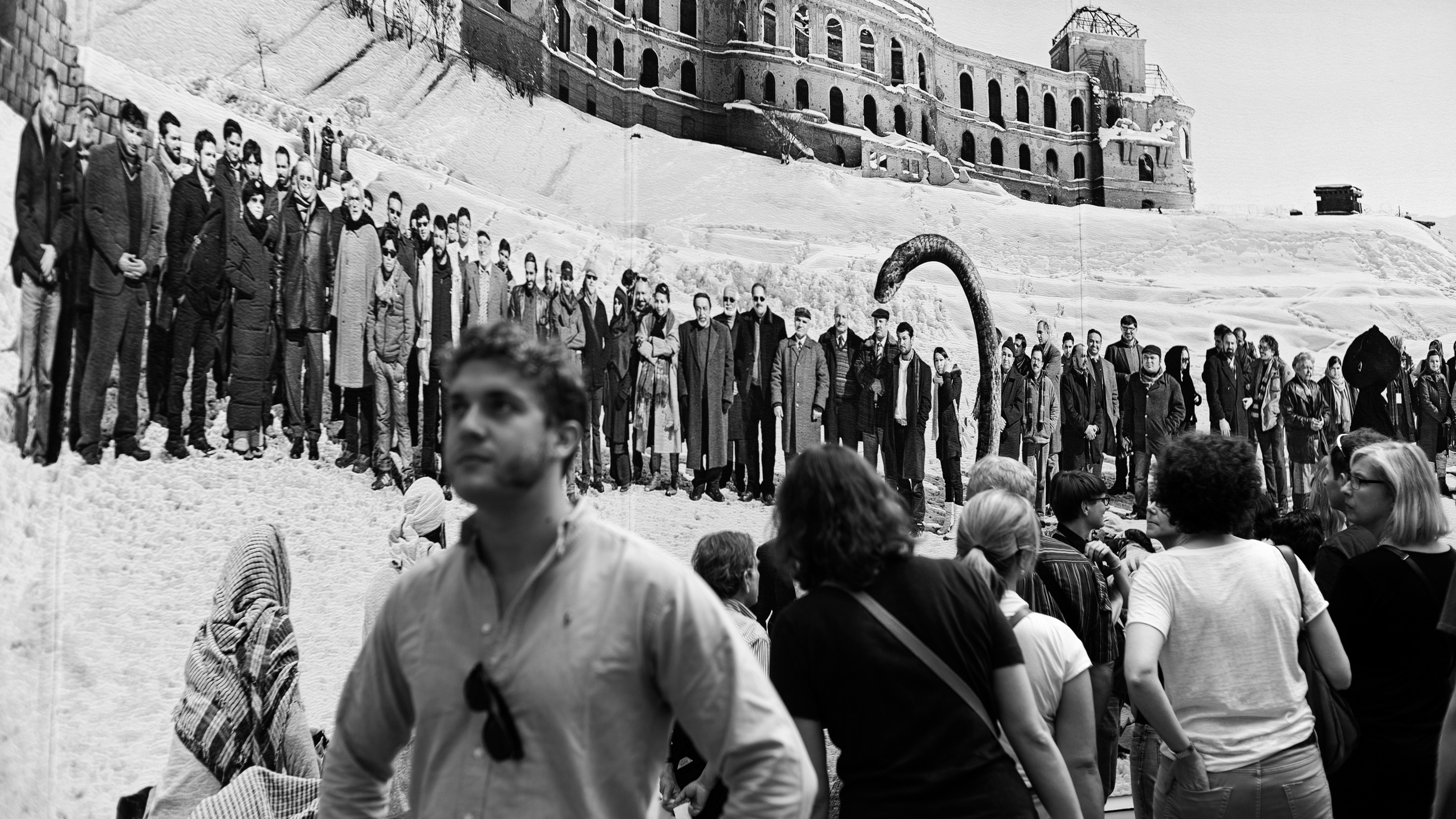 Max atdOCUMENTA (13) in front of Of what is. that it is; of what is not, that it is not 1 by Goshka Macuga.