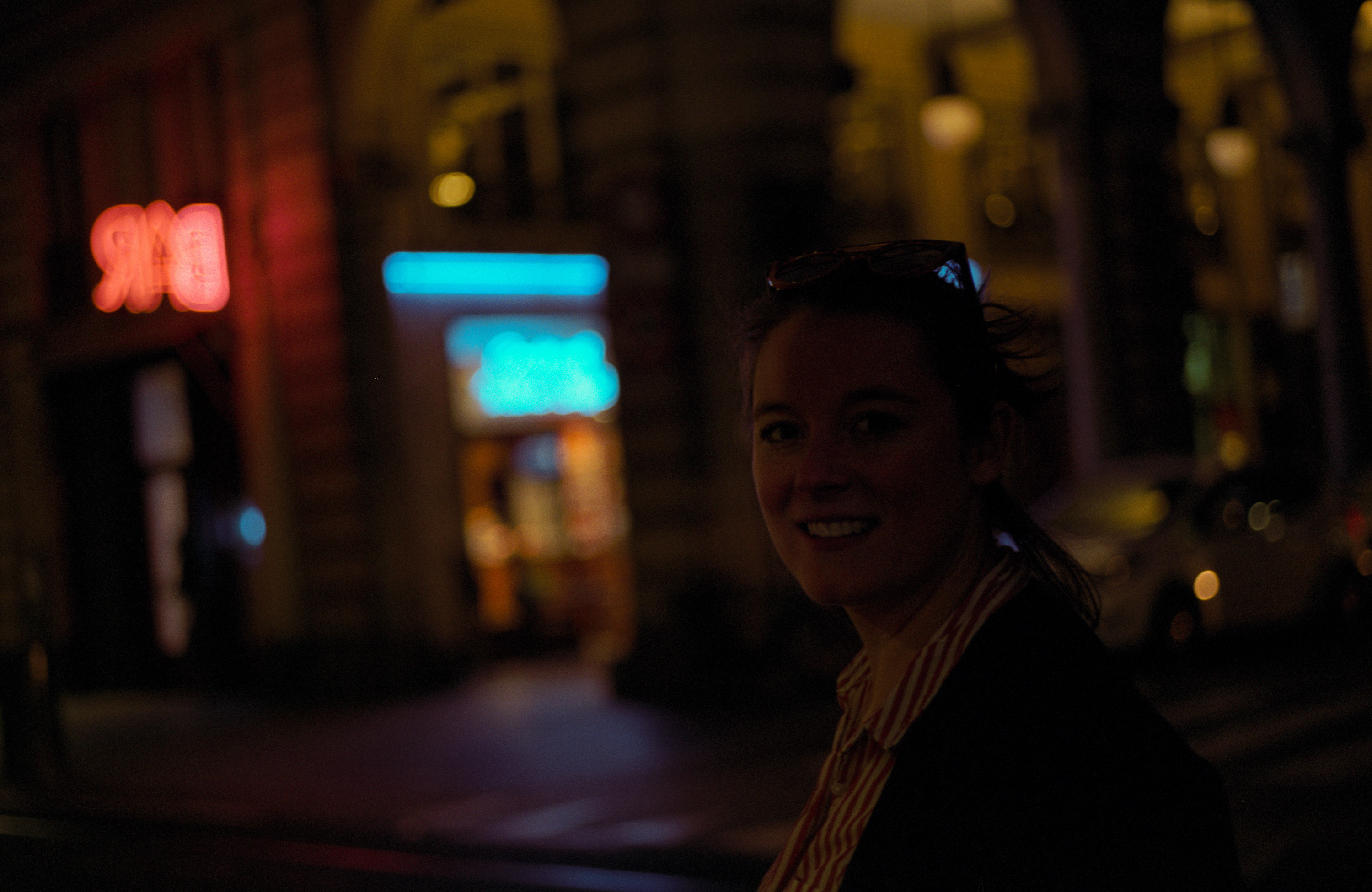 Julie Curto in Turin at night.